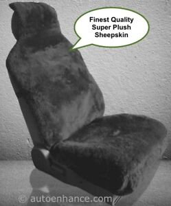 Sheepskin Seat Cover Seat Wrap One Super Plush Top Quality Black Or Steel Gray