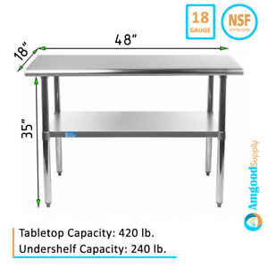 18 X 48 Stainless Steel Table Nsf Metal Work Table For Kitchen Prep Utility