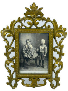 Vintage Rocco Style Iron Picture Frame With Antique Brass Finish