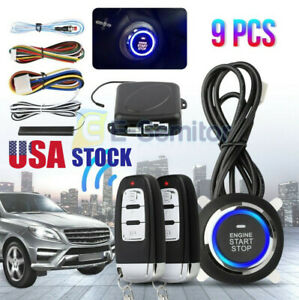 Alarm System Car Security Ignition Engine Start Push Button Remote Keyless Kit