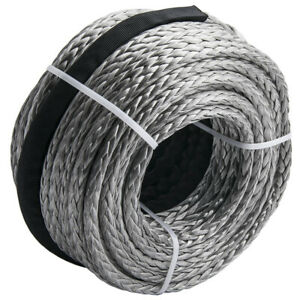 3 8 X 95ft 20500lbs Winch Rope Synthetic Line Black Recovery Cable 4wd Atv Suv