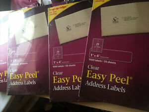 4 Avery 1 x 4 50 Sheets 1000 Label Clear Easy Peel Address Labels New In Box