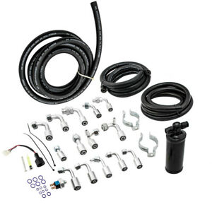 134a Air Conditioning Ac Hose Kit W coated Drier o ring Fittings binary Switch
