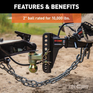 Curt Mount Dual Ball For Adjustable Channel 2 Shank 14000lbs 6 Drop