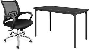 Home Desk Chair Set 47 Large Computer Mesh Mid back Height Adjustable Office