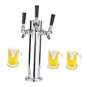 Stainless Steel 3 Tap Draft Beer Tower Beer Kegerator Tower 3 Faucet