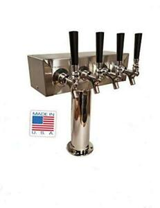 Stainless Steel 4 Product Draft Beer Kegerator T Tower Body 4 Faucets