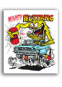 Rat Fink Mighty Mustang Vinyl Decal Sticker 4x5 Inch Toolbox