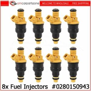 Set Of 8 Flow Matched 0280150943 Fuel Injectors For Ford 4 6 5 0 5 4 5 8 Mustang