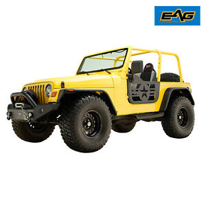 Eag Military Tubular Door Black With Mirror Pair Fit For 97 06 Jeep Tj Wrangler