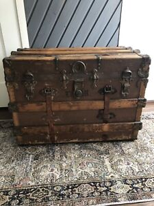 Flat Top Large Steamer Trunk