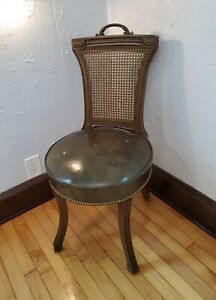 Vintage Mcm 50s Hickory Chair Co Leather Cane Back Chair