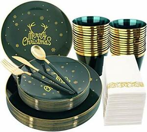 Nervure 175pcs Green And Gold Disposable Plates gold Plastic Silverware With