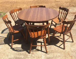 Tell City Rockport Maple Dining Set Table 2 Leaves 6 Chairs