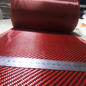 Carbon Fiber Aramid Cloth Red Made With Kevlar Mixed Fabric 50cm 20 Wide 200gsm