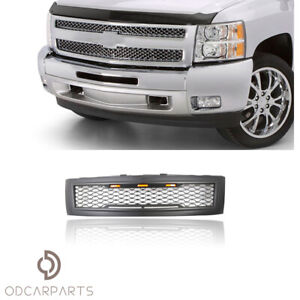 Fits 2007 2013 Chevy Silverado 1500 Front Upper Grille Mesh W lights Matte Black