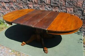 Vintage Carved Paw Feet Pedestal Round Oak Dining Kitchen Table W 3 Boards