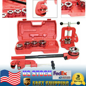 Plastic metal Pipe Threader Ratchet Type With 5 Dies Pipe Cutter 2 Clamp