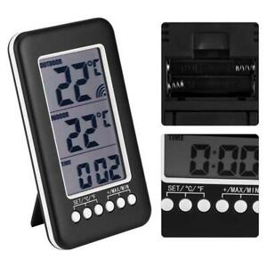 Lcd Digital Outdoor Thermometer Clock Temperature Meter Wireless Transmitter