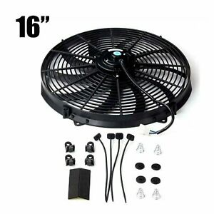 16 Inch Electric Radiator Cooling Fan 12v Slim Push Pull Black Universal