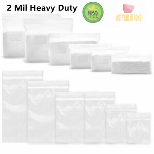 Clear 2 mil Heavy Duty Reclosable Zip Plastic Lock Poly Bags Jewelry Zipper Bags