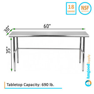 30 X 60 Stainless Steel Open Base Table Nsf Prep Metal Work Table