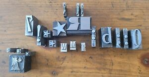 Lead Printing Press Typeset Block Letters Numbers Symbols Mixed Fonts Sizes