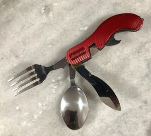 New Snap on Tools Red 4 Function Pocket Camping Spoon Fork Knife Bottle Opener