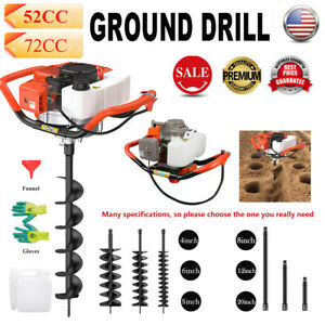 52cc 72cc 2 stroke Gasoline Gas One Man Post Hole Digger Earth Auger Machine