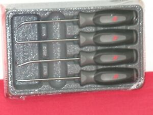 Snap on tools 4 Piece Dark Titainium Soft Grip Mini Pick Set In Storage Tray