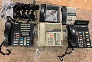 Lot Of 5 Northern Telecom Office Phones 8 Extra Handsets
