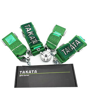 Takata 4 Point Snap on 3 With Camlock Green Racing Seat Belt Harness Universal
