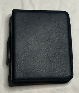 Black Leather 3 ring Zipper Binder With 3 Dividers