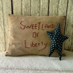 Primitive Grungy Pillow And Star Set 5 5 Blue Star 7 X 10 Pillow Americana
