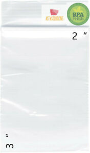 Clear 2 mil 2x3 Inch Reclosable Zip Plastic Lock Poly Bags Jewelry Zipper Bags
