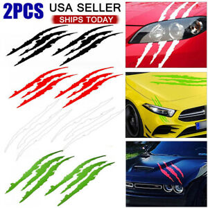 2pcs Car Monster Stickers Claw Scratch Decal Reflective Sticker Headlight Decor