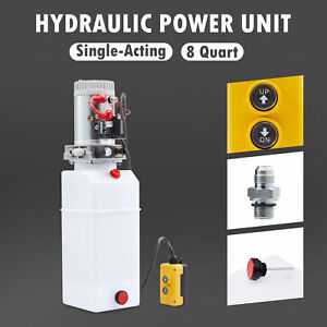 12v 8 Quart Single Acting Hydraulic Pump For Dump Bed Tow Plow Woodsplitter More