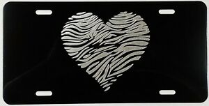 Zebra Heart Car Tag Engraved Etched On Gloss Black Aluminum License Plate Gift