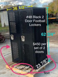 Nice Expanded Metal Mesh Ventilated Black 2 Door Gym Locker Football Lockers 48