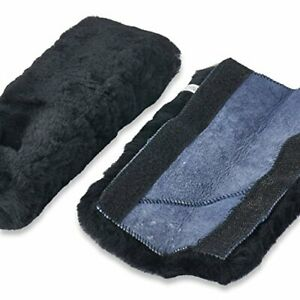 Andalus Authentic Sheepskin Car Seat Belt Cover 2 Pack Soft Shoulder Pads Black