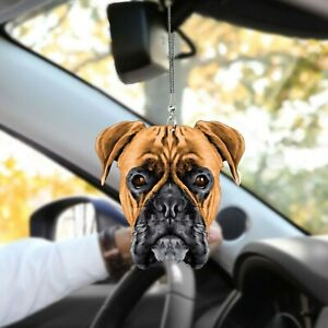 Boxer Dog Cool Face Car Rearview Mirror Dog Car Hanging Ornament Decor