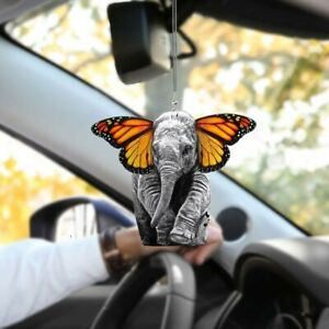 Elephant Butterfly Hanging Ornament Car Rearview Mirror Car Accesories