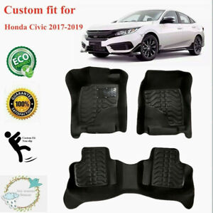 Fit For Honda Civic 2017 2020 Floor Mats Liners Non Slip All Weather Black