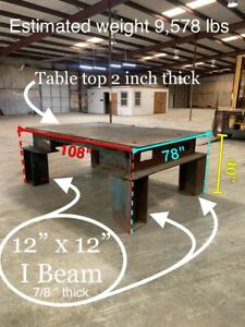 Huge Industrial 5ton Welding Table 2 Thick Top Plate Warehouse 12 X 12 I beam
