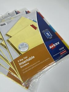 Avery11109 Dividers 5 tab Binder Insertable Multicolor Big Tabs 5 Sets