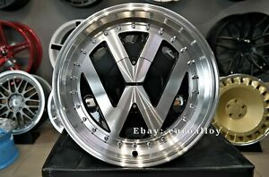New 17 Inch 5x100 Deep Dish Jdm Rr Style Wheels For Vw Golf Polo Passat Bug Old