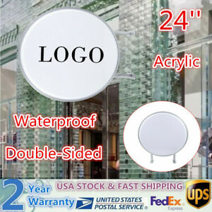24 Double Sided Round Outdoor Indoor Light Box Led Sign For Advertising New