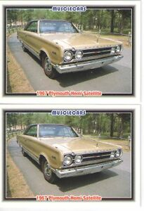 1967 Plymouth Satellite 426 Hemi Baseball Card Sized Cards Must See Lot Of 2