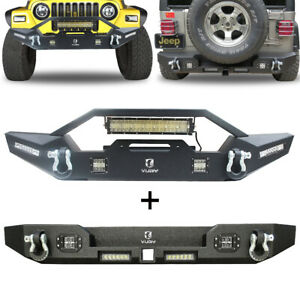 Vijay Front Rear Bumper Tj With Led Lights D Ring For 1997 2006 Jeep Wrangler Tj