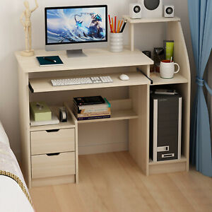 Study Computer Desk Home Office Workstation Wood Laptop Pc Table W Drawer Shelf